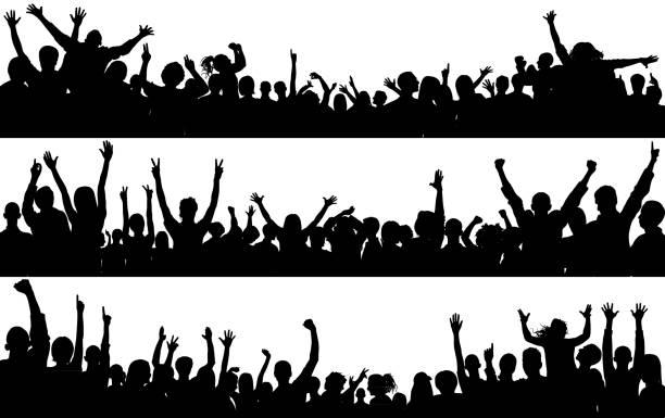 stockillustraties, clipart, cartoons en iconen met menigte (mensen zijn voltooid-een uitknippad verbergt de benen) - cheering