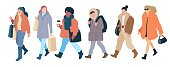 Crowd walking women of casual autumn clothes modern street style. Set vector flat cartoon colorful isolated illustration on white background