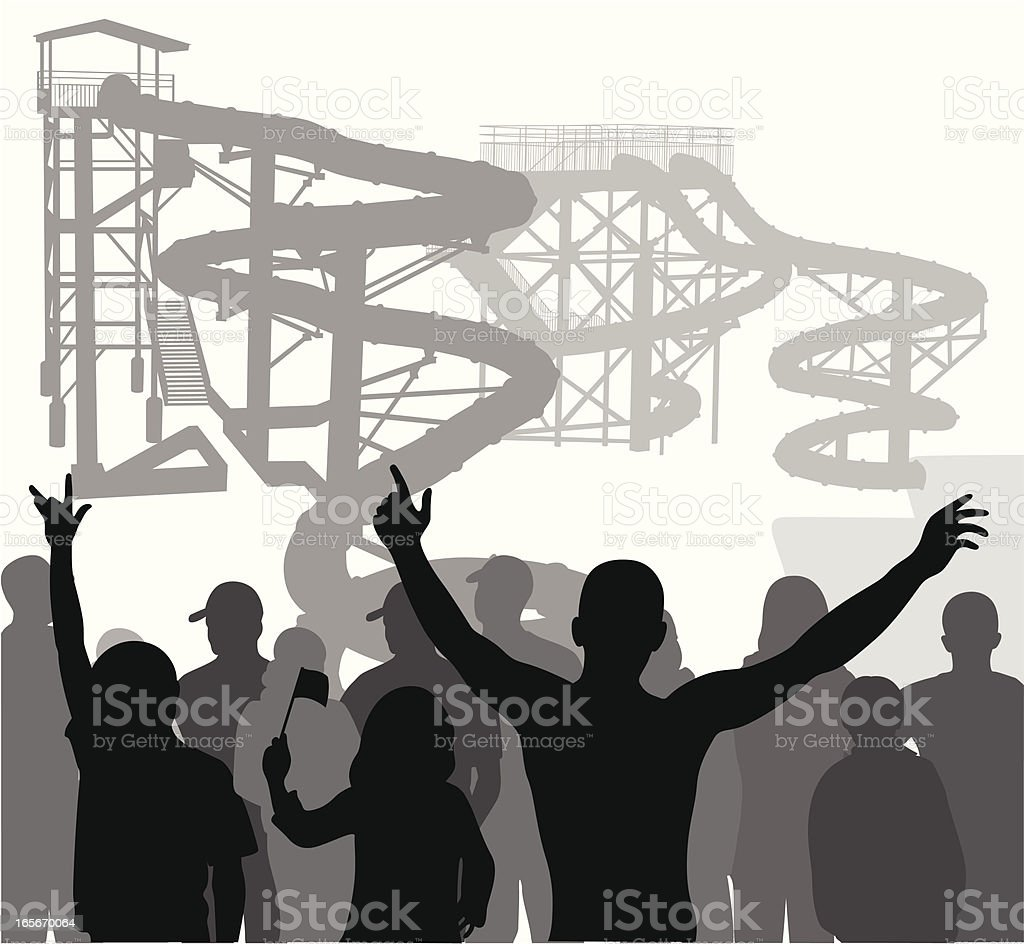 Crowd Water slides Vector Silhouette royalty-free crowd water slides vector silhouette stock vector art & more images of activity