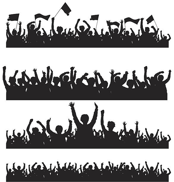 Crowd with Flags Easy editable vector crowd silhouettes with each person as a separate object. Hi-Res jpeg file included. fan enthusiast stock illustrations