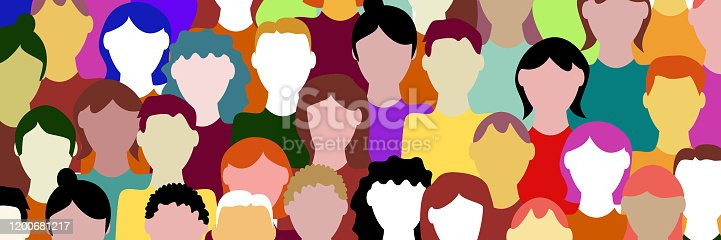 Crowd. Workers group, people in parade or in protest. Flat style. Vector banner background. Social community pattern of diverse people group in modern style