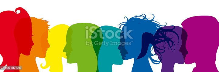 Crowd. Workers group, people in transparency.  Vector banner background in rainbow colors. Social community pattern of diverse people group in modern style