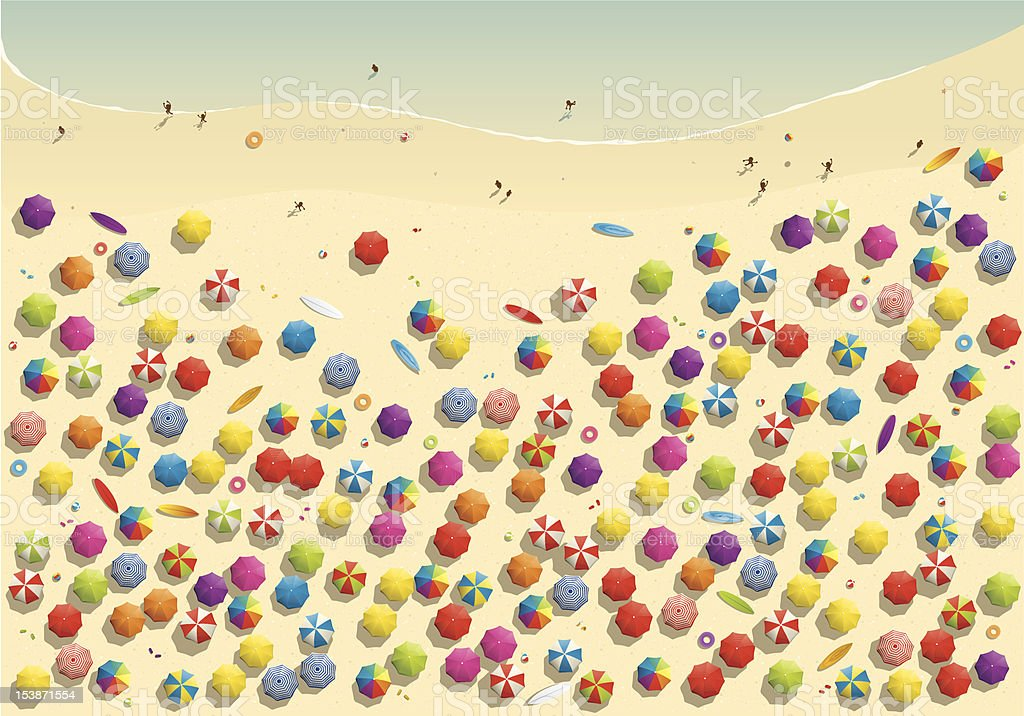Crowded beach Illustration of a crowded beach in summer from above.  (exclusively on istockphoto only) Aerial View stock vector
