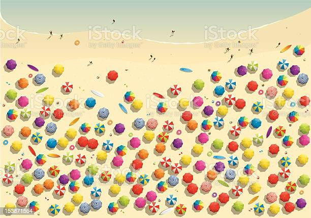 Crowded Beach Stock Illustration - Download Image Now