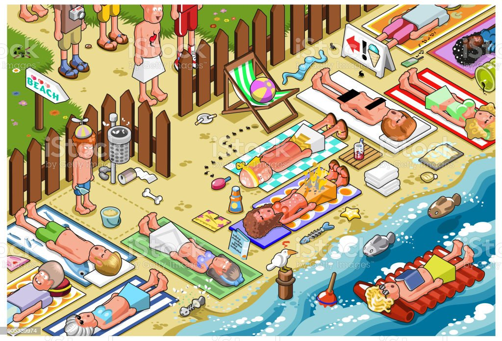 Crowded beach (isometric view) vector art illustration