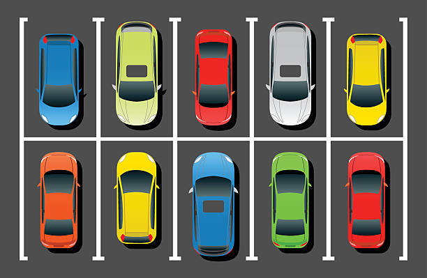 Crowded Car Parking Top View of Crowded Parking Lot. overhead stock illustrations