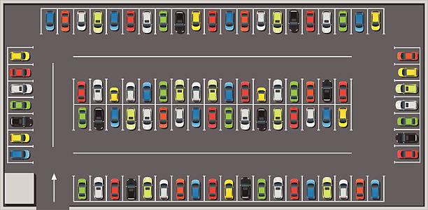 stockillustraties, clipart, cartoons en iconen met crowded car parking - parking