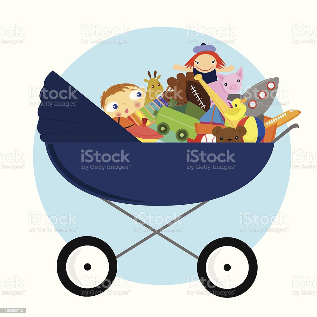 Crowded Carriage vector art illustration