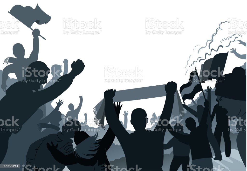 crowded fans vector art illustration