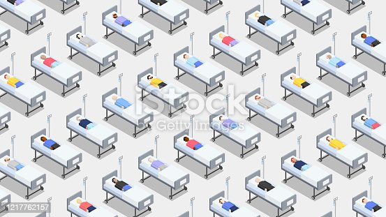 istock Crowded hospital with closely standing hospital beds 1217762157