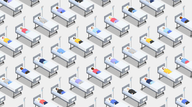 Crowded hospital with closely standing hospital beds vector art illustration
