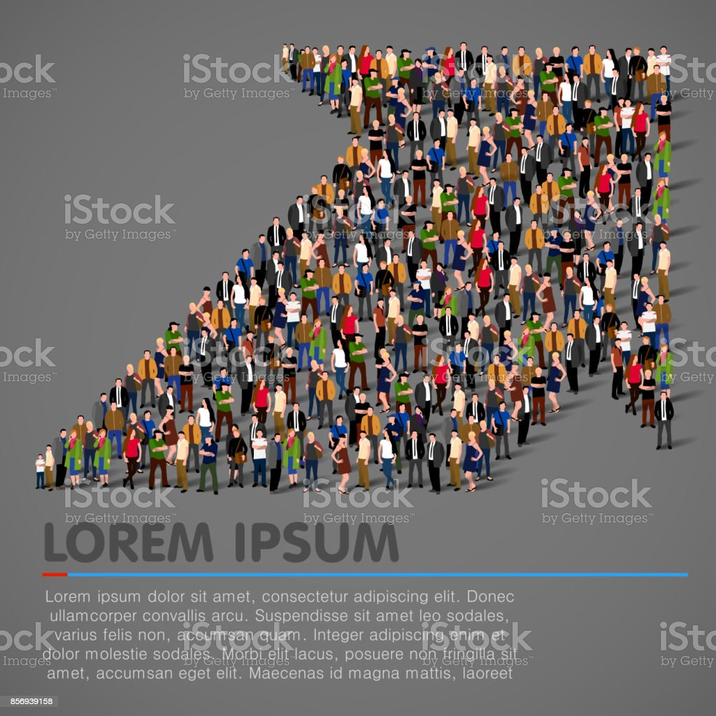 Crowded people vector arrow symbol vector art illustration