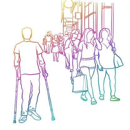 Crowded Sidewalk Challenge Rainbow