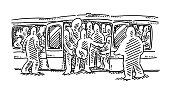 Crowded Subway Train Drawing