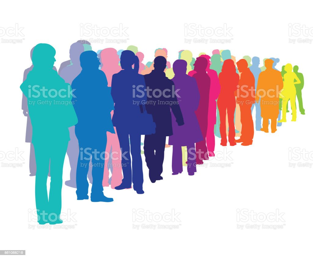 Crowded Wait Lines vector art illustration