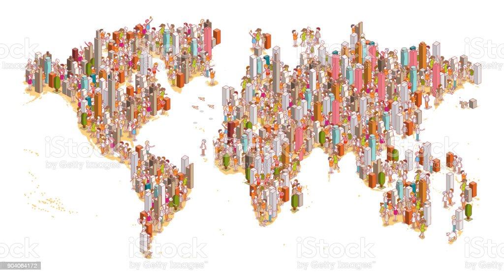 crowded world vector art illustration