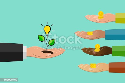 Crowdfunding concept in flat design. Hand holding light bulb as idea symbol and others donating money.