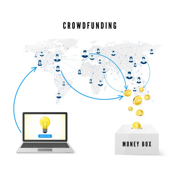 stockillustraties, clipart, cartoons en iconen met crowdfunding concept. mensen uit het wereldwijde netwerk doneren van geld voor business idea en helpen bij het ontwikkelen van project. vectorillustratie - non profit