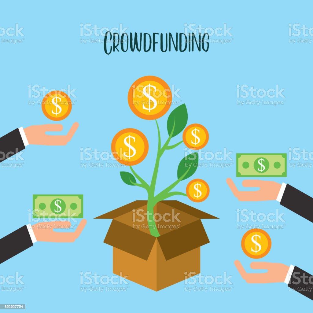 crowdfunding crecimiento monedas donación voluntaria - ilustración de arte vectorial