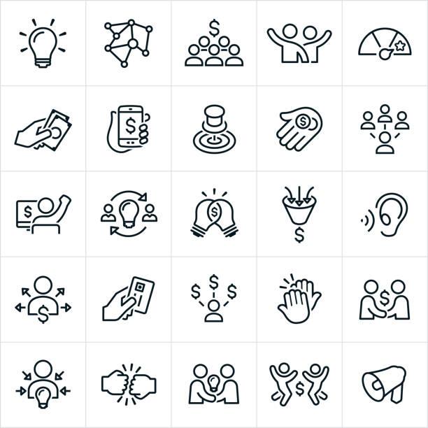 ilustrações, clipart, desenhos animados e ícones de ícones de crowdfunding - entrepreneurship