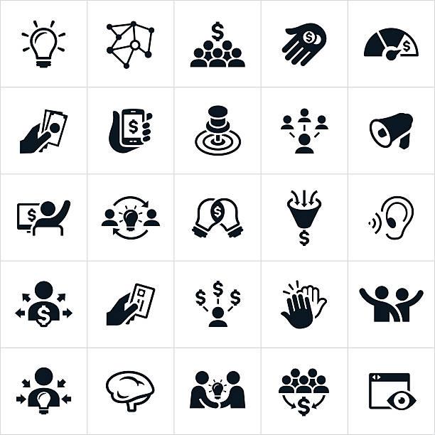 ilustrações, clipart, desenhos animados e ícones de financiamento coletivo ícones - entrepreneurship