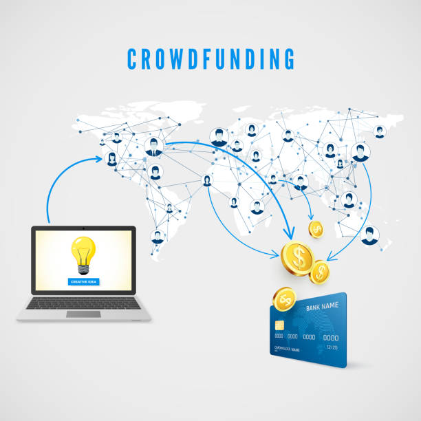 stockillustraties, clipart, cartoons en iconen met crowdfunding. mensen uit het wereldwijde netwerk doneren van geld voor business idea en helpen bij het ontwikkelen van project. vectorillustratie - non profit