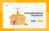 istock Crowdfunding Philanthropy Landing Page Template. Tiny Female Character Insert Golden Money Coins at Huge Box with Glowing Lightbulb Sponsoring Business Start Up Project. Cartoon Vector Illustration 1221145941