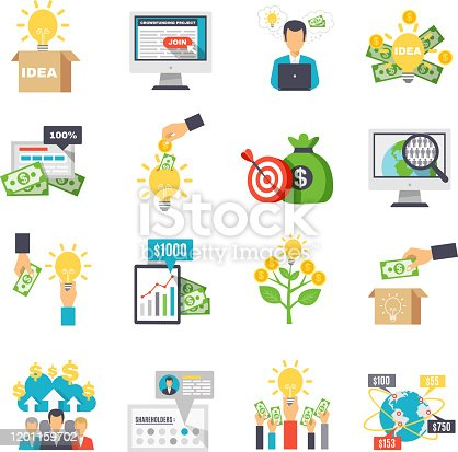 Crowdfunding decorative icons set with business idea sponsors groups box for donations isolated signs flat vector illustration