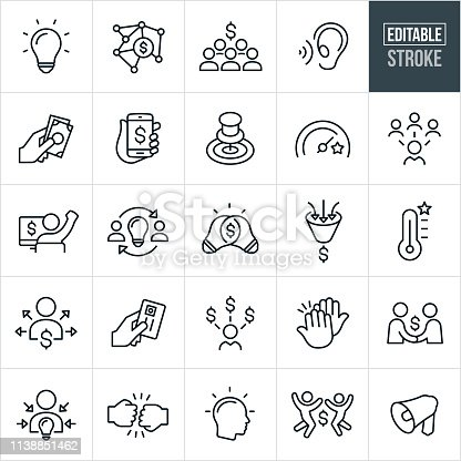 A set crowdfunding icons that include editable strokes or outlines using the EPS vector file. The icons include idea conception, funding using an internet platform, groups of people contributing money, goals in achieving the needed funding, entrepreneurs receiving funds for their projects and other related concepts.