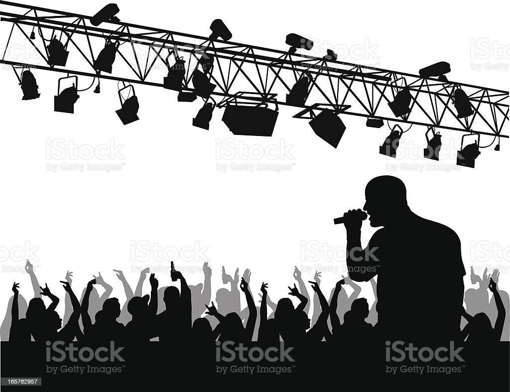 Crowd'n Lights Vector Silhouette royalty-free stock vector art