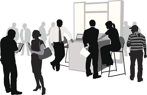 シルエットのビジネスマングループ - 展示会点のイラスト素材/クリップアート素材/マンガ素材/アイコン素材