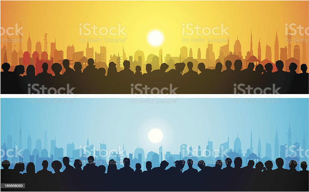 Crowds Watching and a City royalty-free crowds watching and a city stock vector art & more images of audience