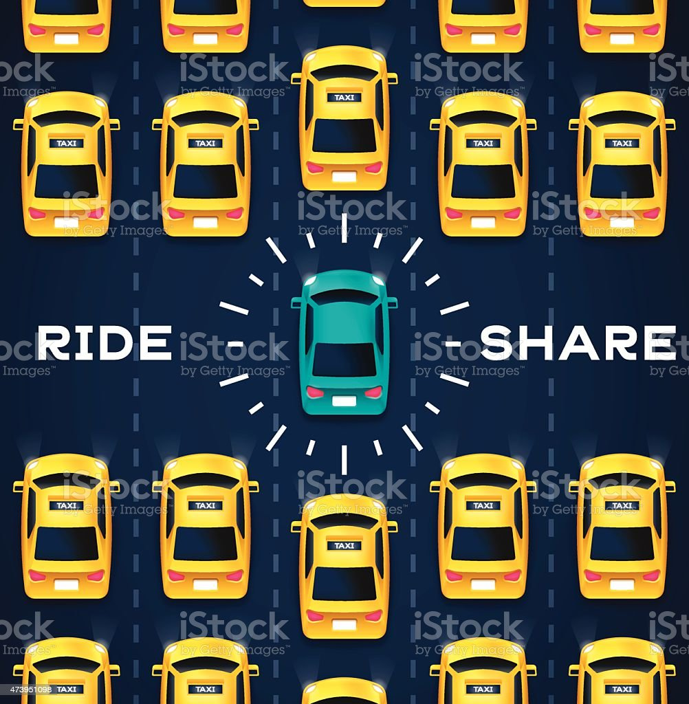 Crowdsourced Transportation Services vector art illustration