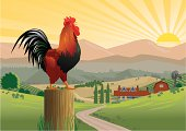 Crowing Rooster at dawn, on a post with farmhouse and mountains in background. Rooster and post on separate layers and can be deleted. Art is easily edited. Download also includes a high-res jpeg.