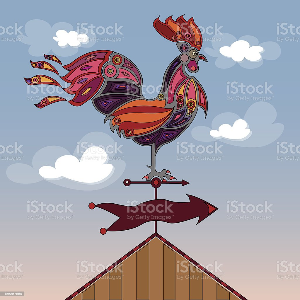 crowing rooster vector art illustration
