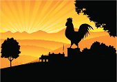 Crowing Rooster in silhouette on a post with sunrise, mountain panorama and farmyard in the background. Don't want the rays? Simply click 'em off.  Art on easily edited  layers. Download also includes a large high-res jpeg.