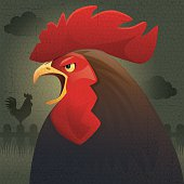 vector character of crowing rooster, with grunge background…
