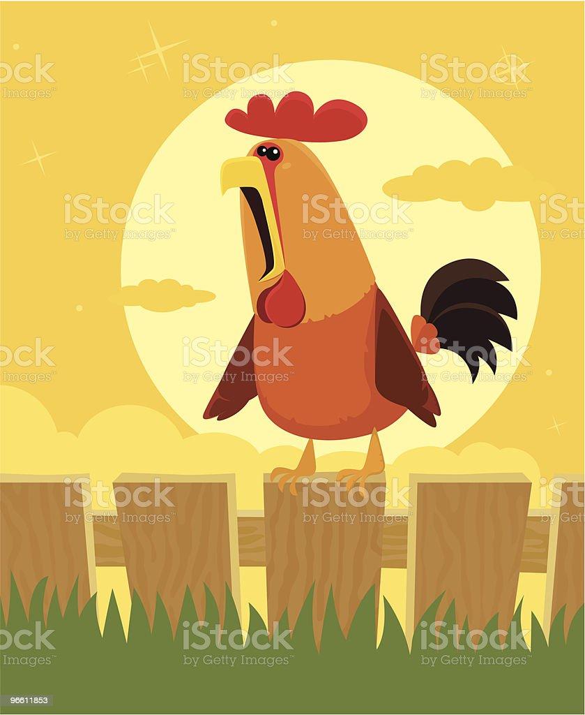 crowing rooster - Royaltyfri Boskap vektorgrafik
