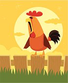 vector illustration of rooster crowing at dawn.