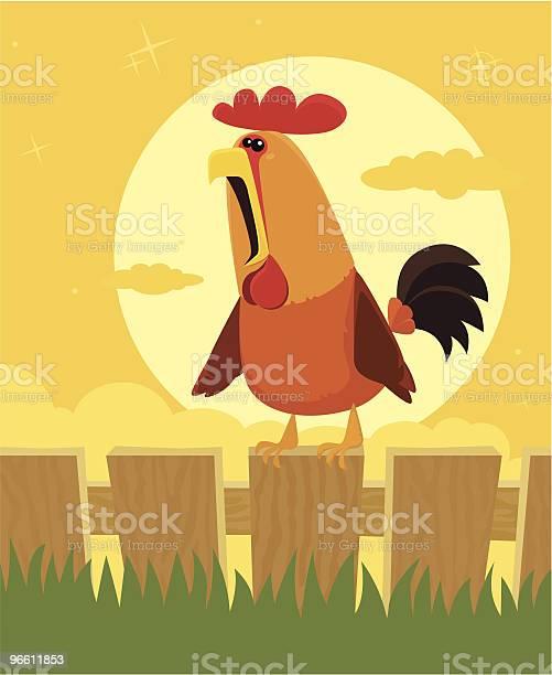 Crowing Rooster-vektorgrafik och fler bilder på Boskap