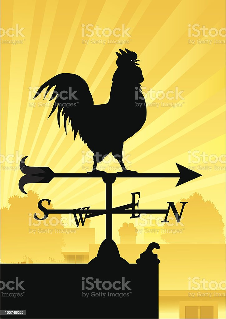 Crowing Rooster Weather Vane vector art illustration