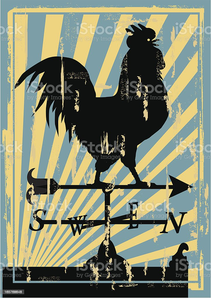 Crowing Rooster Weathervane vector art illustration