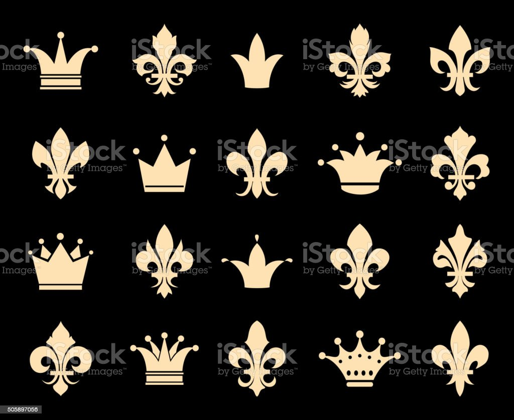 Crown and fleur de lis icons vector art illustration
