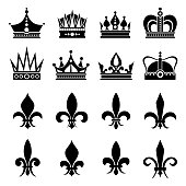 Crown and fleur de lis, lily flowers icons