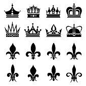 Crown and fleur de lis, lily flowers icons
