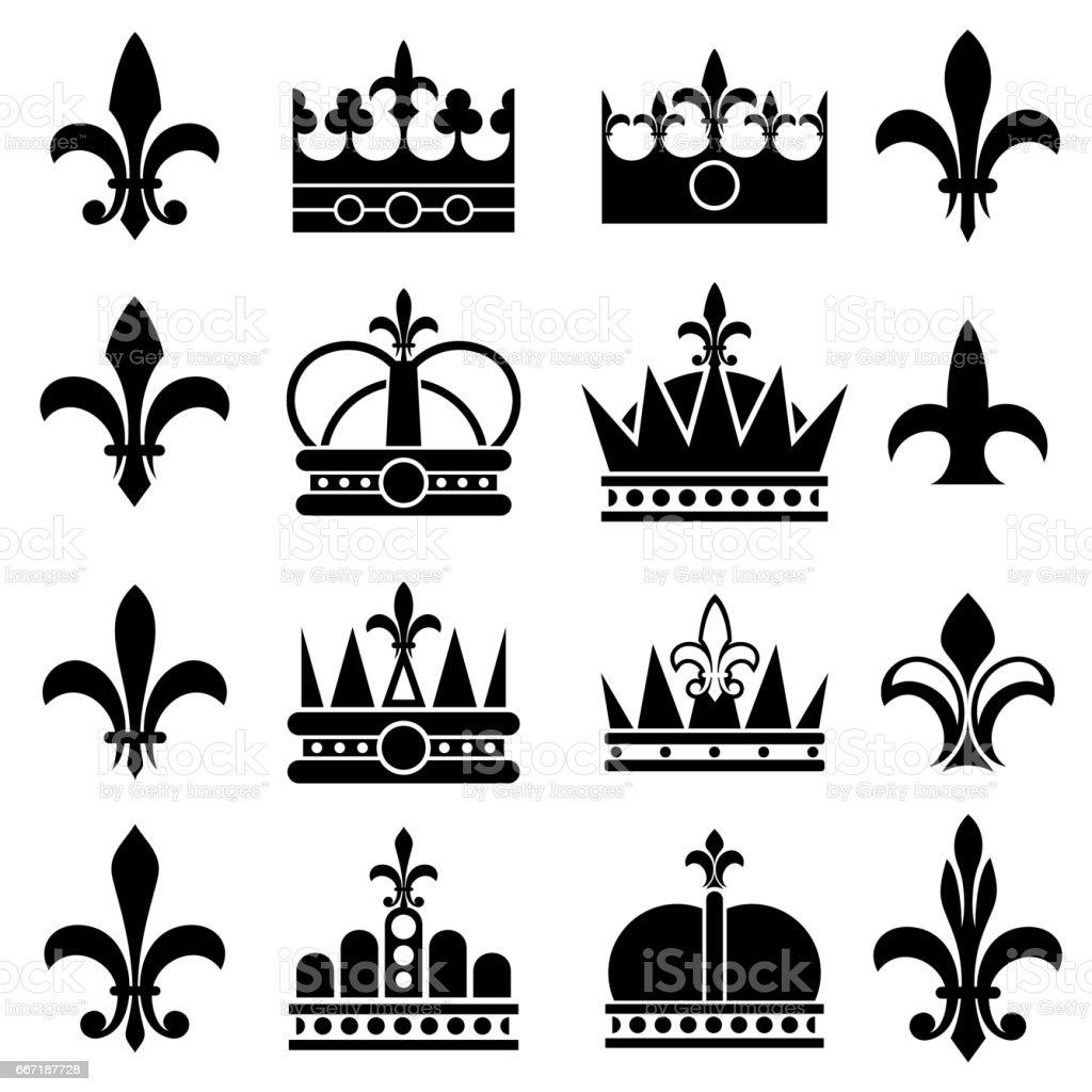 Couronne Et Fleur De Lis Lys Fleurs Royal Vector Icons Cliparts
