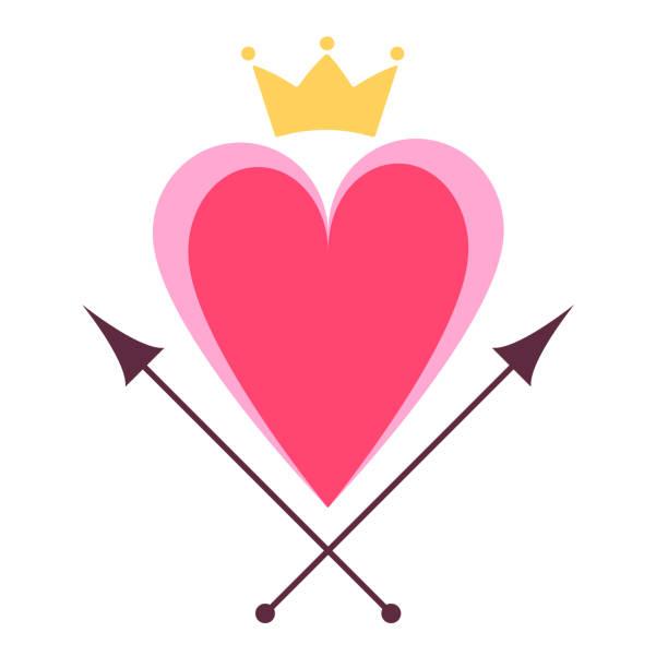 Crown and heart symbol vector art illustration