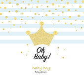 Crown and shining stars. Oh Baby. Baby boy. It's a boy. Baby shower greeting card with square, stars greeting card. Baby first birthday, t-shirt, baby shower, baby gender reveal party design element vector