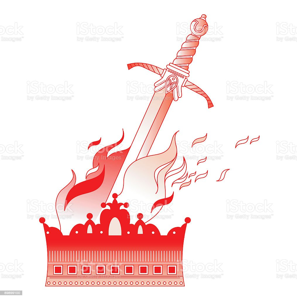 Crown and sword in fire royalty-free crown and sword in fire stock vector art & more images of battle