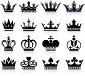 Crown black and white royalty free vector icon set